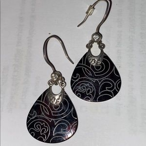 Silpada Earings brown etched shell